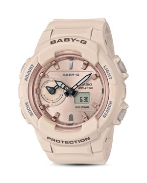CASIO WOMEN'S ANALOG-DIGITAL PINK RESIN STRAP WATCH 42.9MM