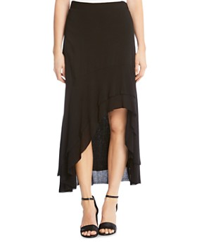 Karen Kane - Tiered High/Low Raw-Hem Skirt