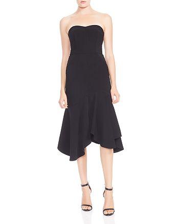 HALSTON HERITAGE - Strapless Flounced Crepe Midi Dress