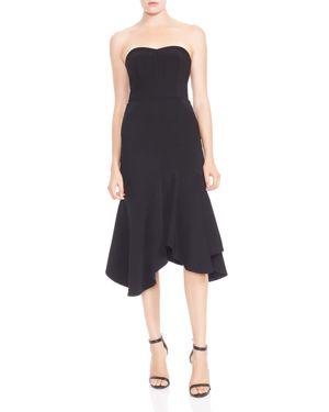 Halston Heritage Strapless Flounced Crepe Midi Dress 2941509