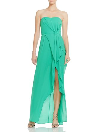 HALSTON HERITAGE - Ruffled Strapless Gown
