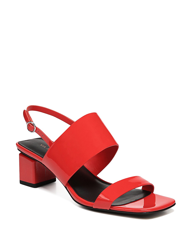 Via Spiga Women's Forte Patent Leather Mid-Heel Sandals 9ZVv1