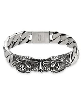 Gucci Sterling Silver Tiger Head Motif Gourmette Bracelet