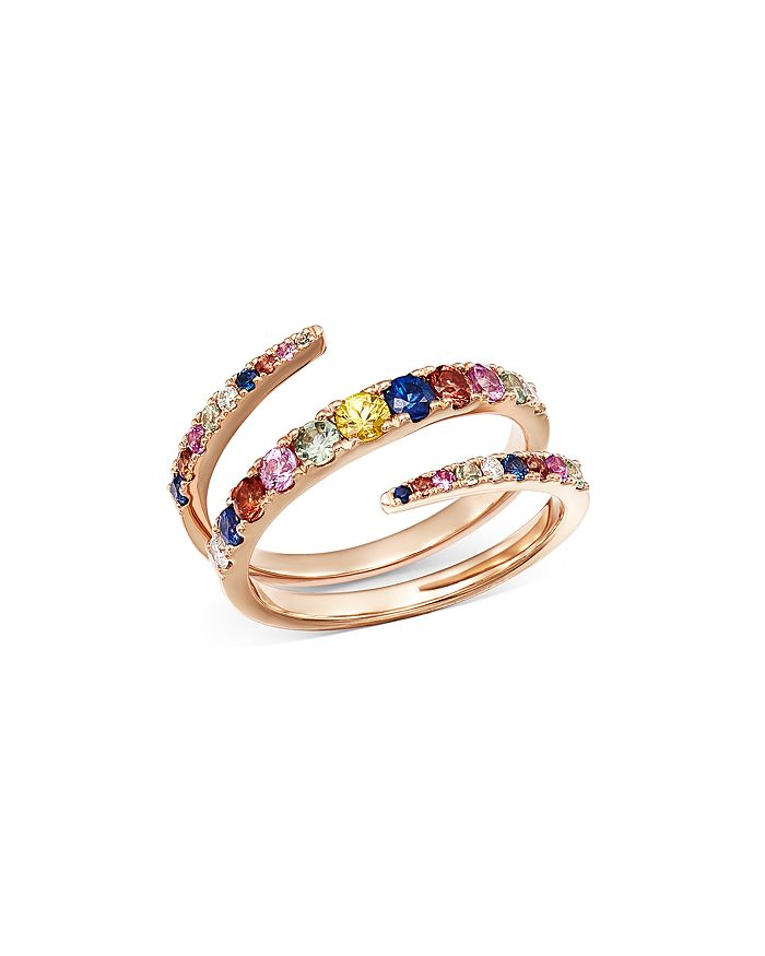 Bloomingdale's - Multicolor Sapphire & Diamond Spiral Ring in 14K Rose Gold - 100% Exclusive