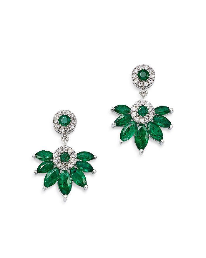 Bloomingdale's - Emerald Marquis & Diamond Fan Drop Earrings in 14K White Gold - 100% Exclusive