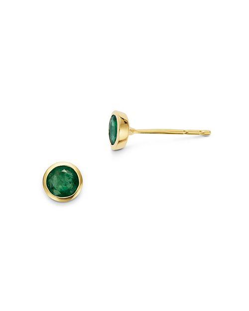 Bloomingdale's - Emerald Bezel Stud Earrings in 14K Yellow Gold - 100% Exclusive