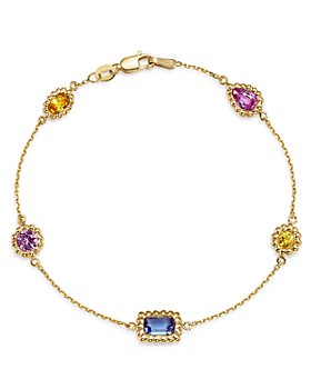 Bloomingdale's - Multicolor Sapphire Beaded Station Bracelet in 14K Yellow Gold - 100% Exclusive