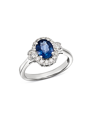 Bloomingdale's Blue Sapphire & Diamond Oval Halo Ring in 14K White Gold - 100% Exclusive