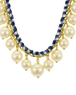 Pretty Pearly Imitation Pearl Necklace, Navy/White