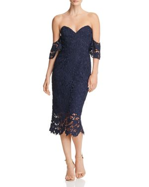 SAU LEE Ella Off-The-Shoulder Lace Dress in Navy