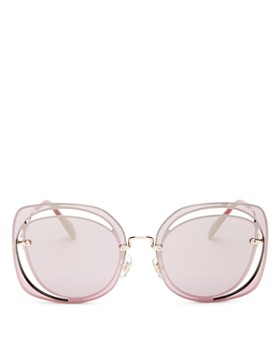 Miu Miu - Women's Mirrored Oversized Square Sunglasses, 64mm