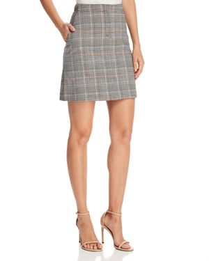 Check Print Mini Skirt, Multi