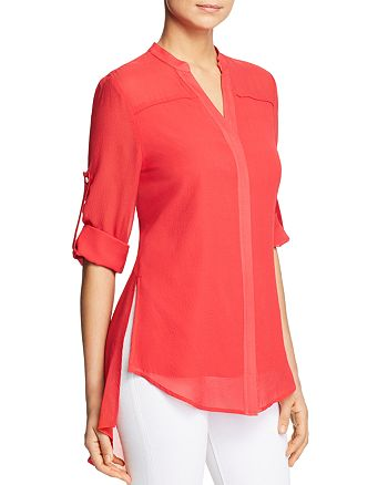 Badgley Mischka - Sheer Silk Button-Down Top