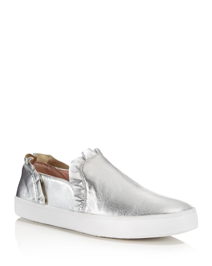kate spade new york - Women's Lilly Ruffle-Trim Leather Slip-On Sneakers