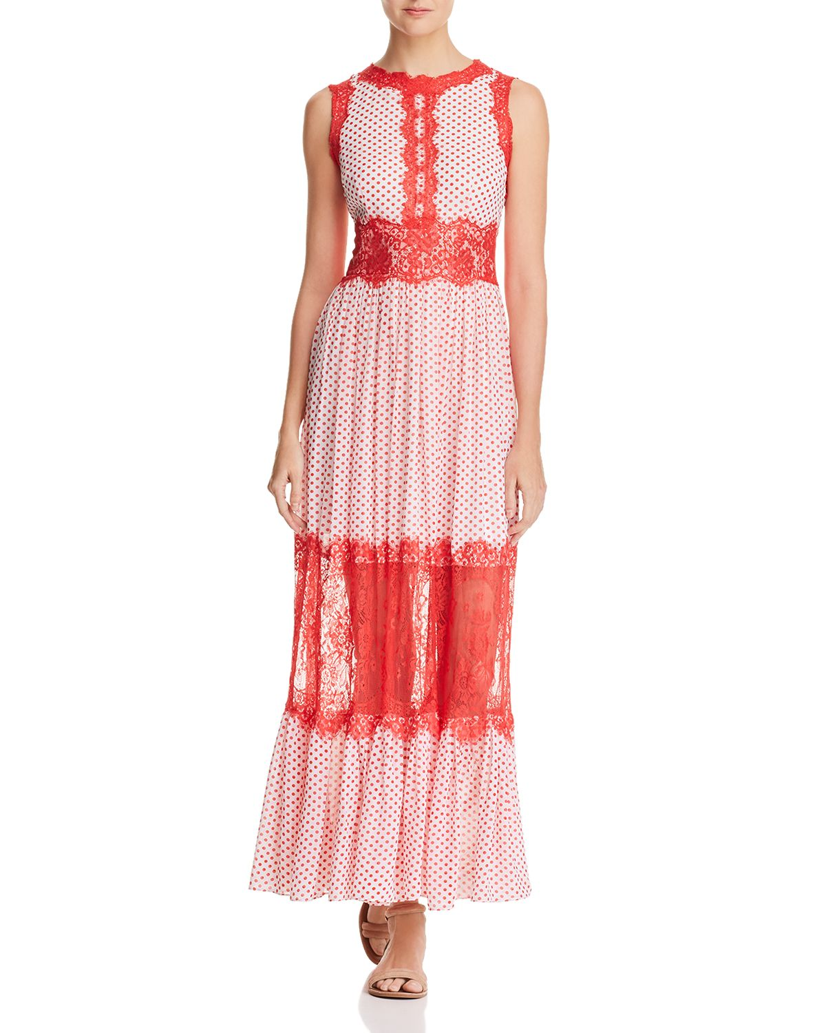 Lace Appliqué Polka Dot Maxi Dress   100 Percents Exclusive by Aqua