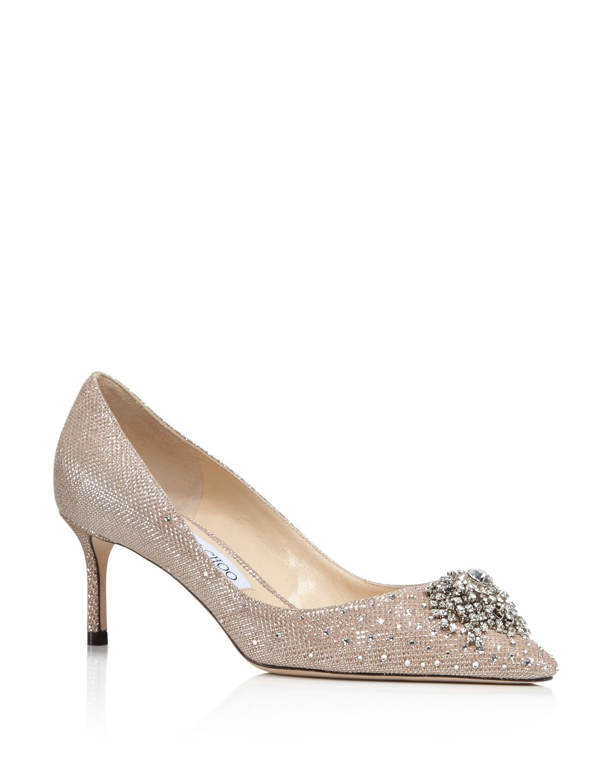 Jimmy choo Women's Joan 60 Glitter Mesh & Leather Pointed Toe Mid Heel Pumps