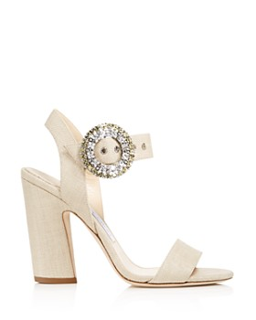 Jimmy Choo - Women's Mischa 100 Raffia & Leather High-Heel Sandals