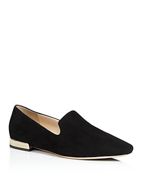 Jimmy Choo - Women's Jaida Suede Square Toe Smoking Slipper Flats