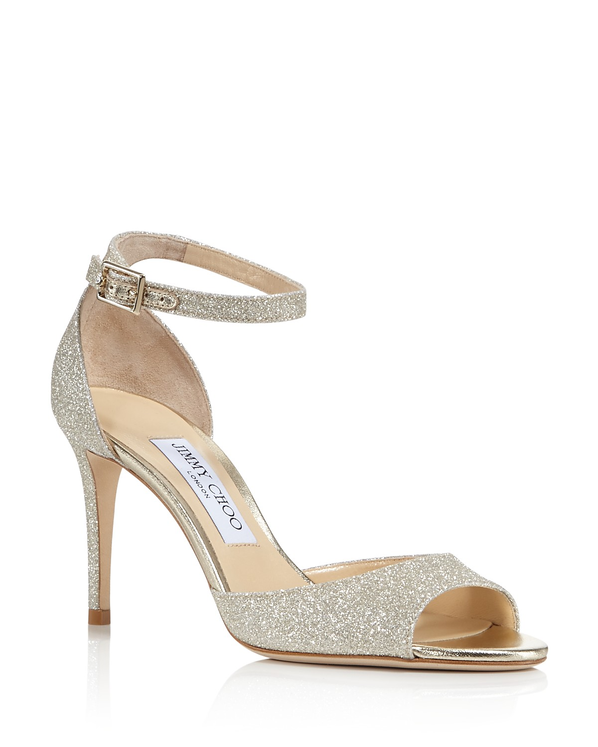 Jimmy choo Women's Annie 85 Glittered Suede High-Heel Ankle Strap Sandals 82oeGVM