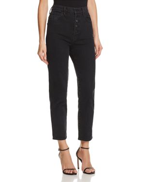 HEATHER BUTTON-FLY STRAIGHT JEANS IN OVERTHROW