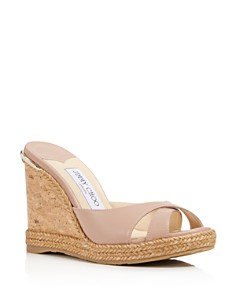 Jimmy Choo - Women's Almer Leather & Braid Trim Platform Wedge Slide Sandals