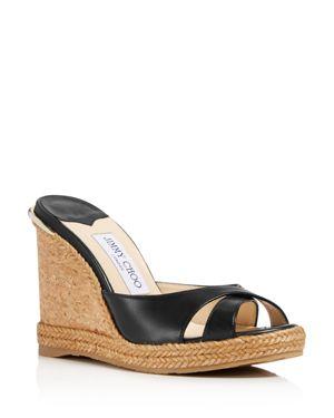 Women'S Almer Leather & Braid Trim Platform Wedge Slide Sandals in Black