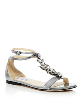 Jimmy Choo - Women's Averie Embellished Leather T-Strap Sandals