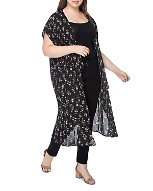 New B Collection by Bobeau Curvy Brianna Floral Duster Kimono - 100% Exclusive, Ditsy Floral
