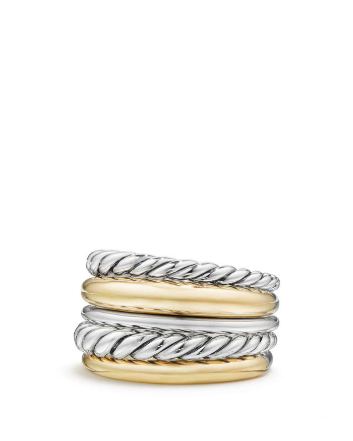 David Yurman Pure Form Wide Ring with 18K Gold   | Bloomingdale's