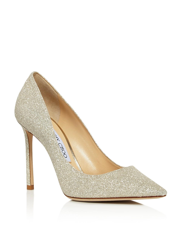 Jimmy choo Women's Romy 100 Glitter Leather High-Heel Pointed Toe Pumps Cxp671