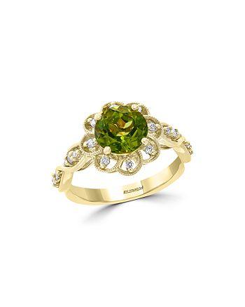 Bloomingdale's - Peridot & Diamond Flower Ring in 14K Yellow Gold - 100% Exclusive