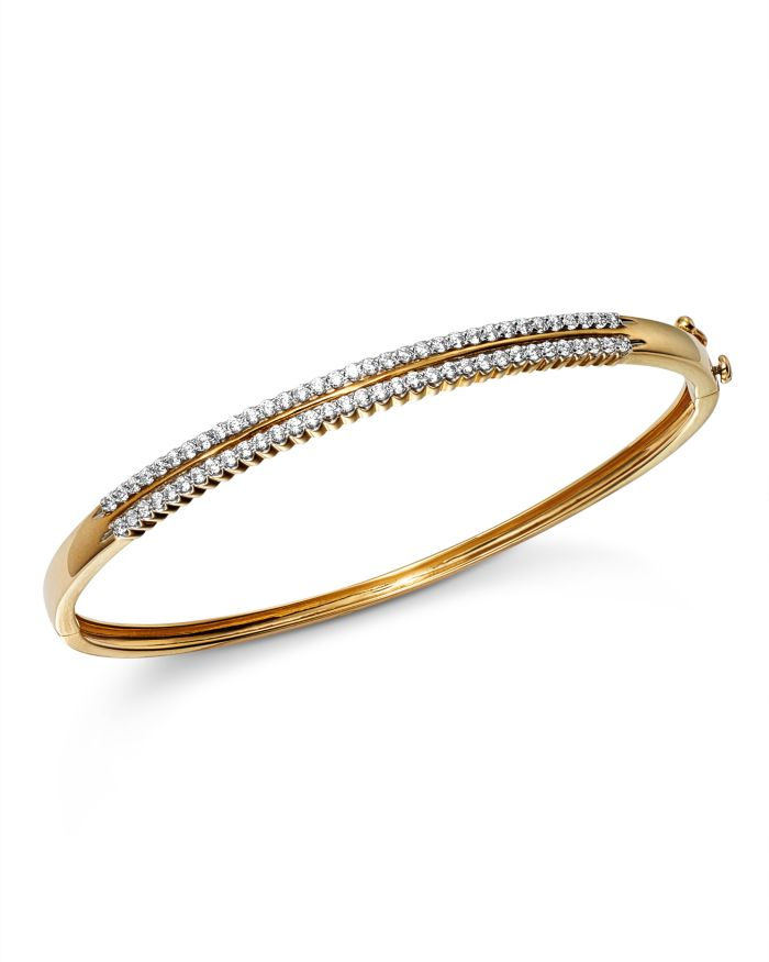 Bloomingdale's Diamond Two Row Bangle in 14K Yellow Gold, 1.0 ct. t.w. - 100% Exclusive   | Bloomingdale's