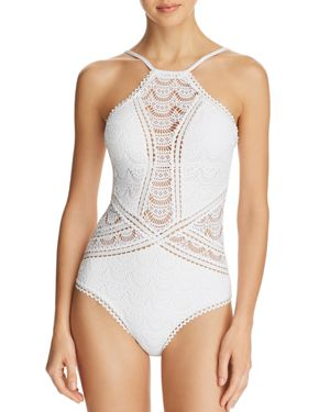 BECCA BY REBECCA VIRTUE HIGH-NECK ILLUSION CROCHET ONE-PIECE SWIMSUIT WOMEN'S SWIMSUIT