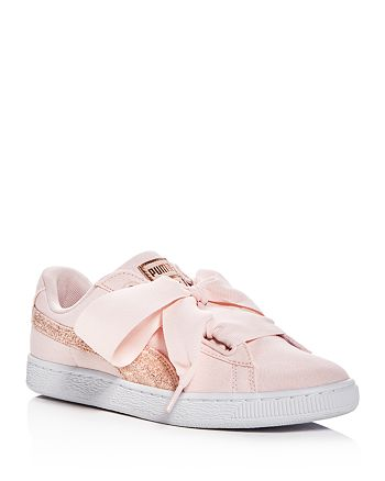 brand new 07e2e f002d PUMA Women's Basket Heart Canvas & Glitter Lace Up Sneakers ...