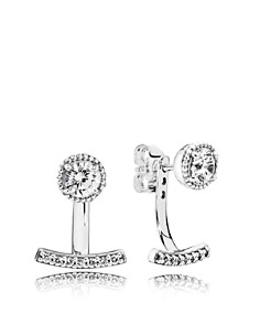 PANDORA - Sterling Silver & Cubic Zirconia Abstract Elegance Jacket Earrings