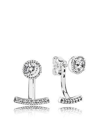 f59ce72de Pandora - Sterling Silver & Cubic Zirconia Abstract Elegance Jacket Earrings