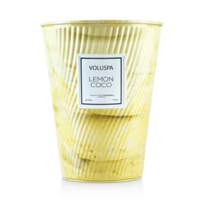 Lemon Coco Embossed Large Tin Candle by Voluspa