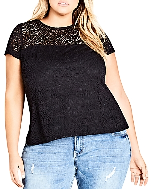 City Chic Plus Magical Feeling Lace-Overlay Top