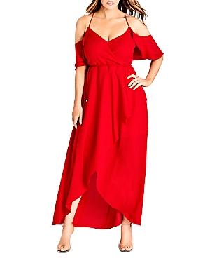 City Chic Plus Miss Jessica Cold-Shoulder Maxi Dress