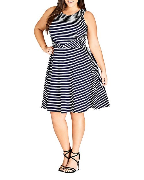 City Chic Plus - Nautical Striped Fit-and-Flare Dress