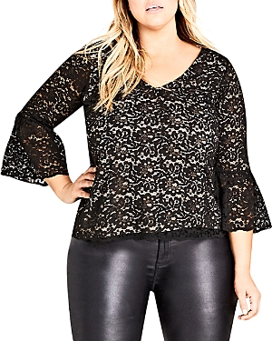 City Chic Plus Mystic Bell-Sleeve Lace Top