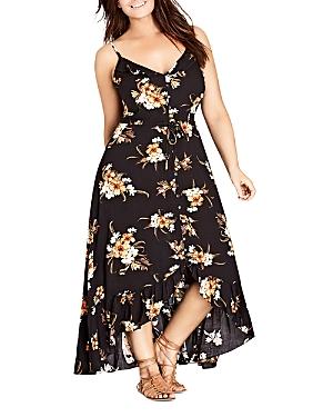 City Chic Plus Aruba Button-Front Floral-Print Maxi Dress
