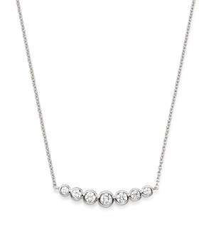 Bloomingdale's - Diamond Bezel Arc Pendant Necklace in 14K White Gold, 0.50 ct. t.w. - 100% Exclusive