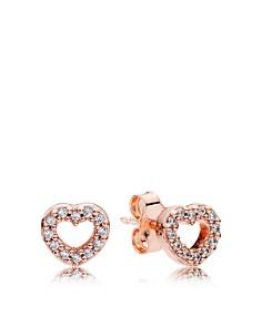PANDORA - Rose Gold-Tone Captured Hearts Stud Earrings