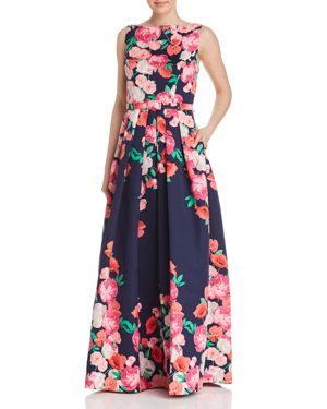 FLORAL BELTED BALL GOWN