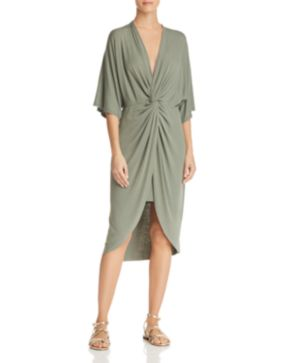 designer dress boohoo clothing sasha chartreuse textured slinky drapes draped multicolor lyst midi