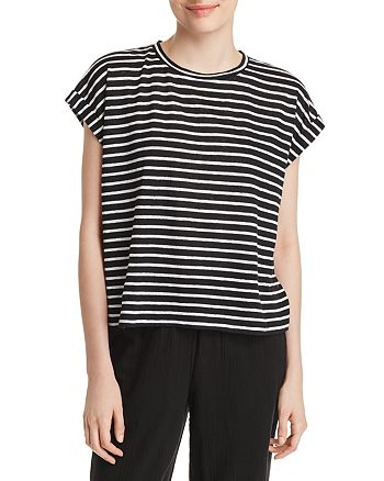Eileen Fisher - Striped Roll-Cuff Top