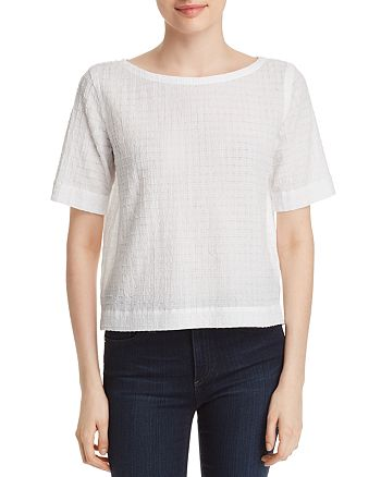Eileen Fisher - Boatneck Grid-Knit Top