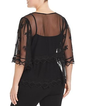 VINCE CAMUTO Plus - Sheer Embroidered Mesh Top
