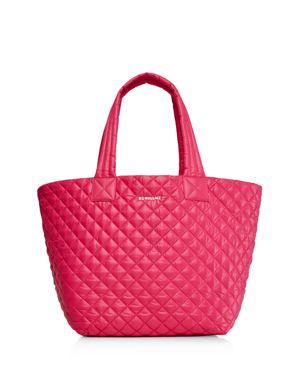 'MEDIUM METRO' QUILTED LACQUER TOTE - PINK